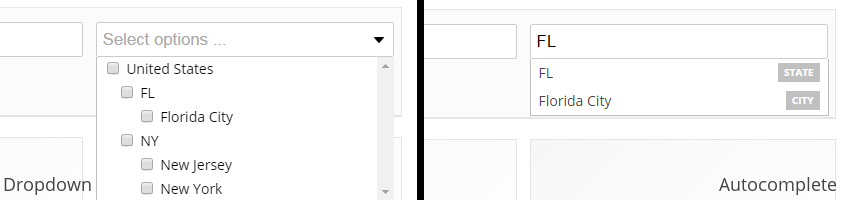 Left side: entering location using dropdown. Right side: entering location using autocomplete input.