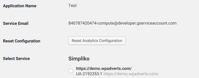 WPAdverts Google Analytics configuration, step #2