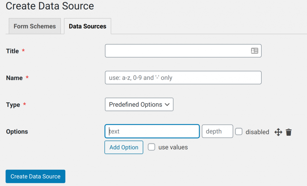 Create a new data source with predefined options