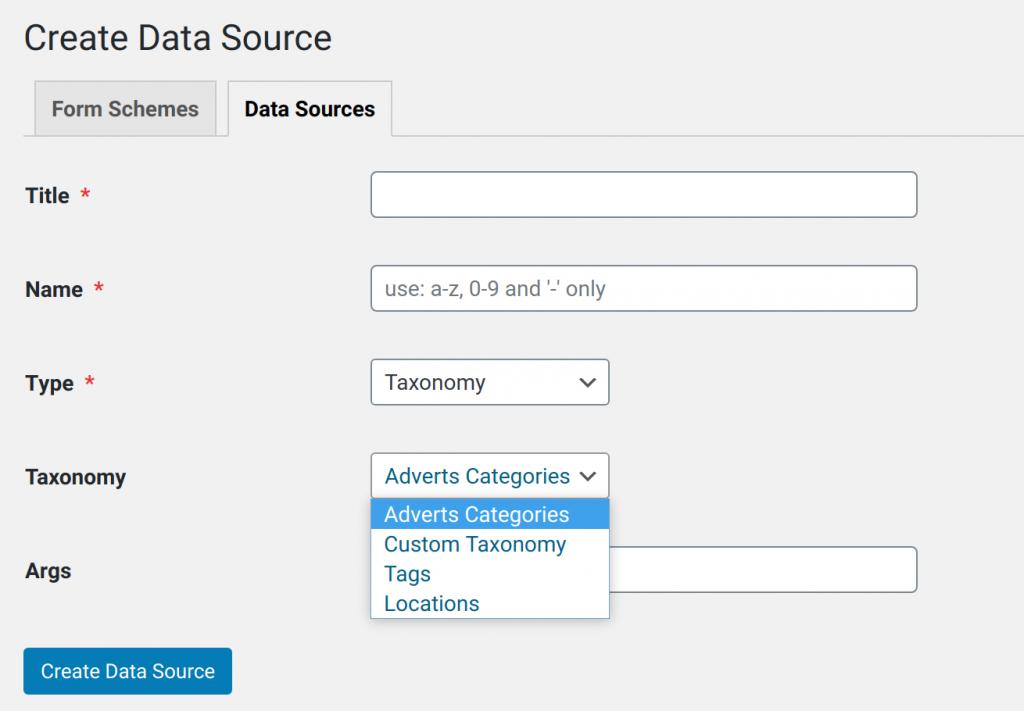 Data Source using custom taxonomy.